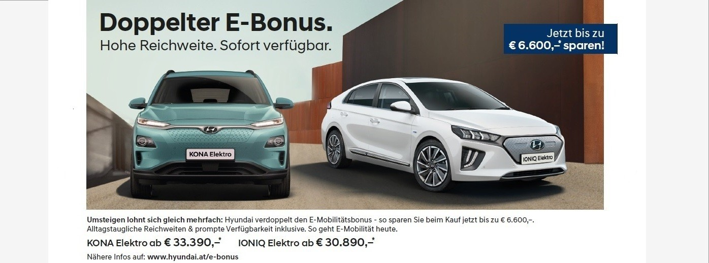 Hyundai Doppelter E_Bonus bei Autohaus Knoll in Langenwang und Kapfenberg